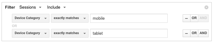 mobile and tablet traffic google analytics advanced segments