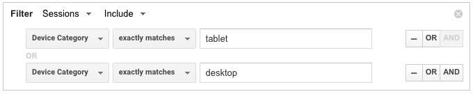 Tablet and desktop traffic google analytics advanced segments